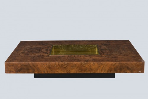 """Burl ash """"TRV"""" table - Willy Rizzo (1928-2013) - Furniture Style"""
