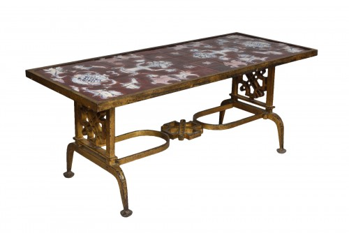 Cast iron and ceramic coffee table, Gilbert Poillerat (1902 - 1988)