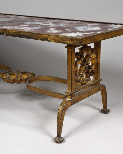 Furniture  - Cast iron and ceramic coffee table, Gilbert Poillerat (1902 - 1988)