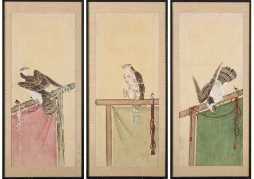 A series of eight gouaches on paper, Japan, Meiji Period.