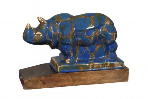 """""""Rhinocéros"""" porcelain Camille THARAUD (1878 - 1951) & Robert LEMOINE ("""