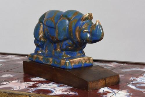 """""""Rhinocéros"""" porcelain Camille THARAUD (1878 - 1951) & Robert LEMOINE  - Porcelain & Faience Style"""