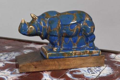 """Porcelain & Faience  - """"Rhinocéros"""" porcelain Camille THARAUD (1878 - 1951) & Robert LEMOINE"""