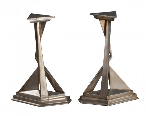 Pair of Castor and Polux candlesticks signed Dali