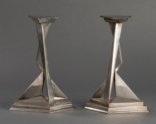 Pair of Castor and Polux candlesticks signed Dali - Lighting Style 50