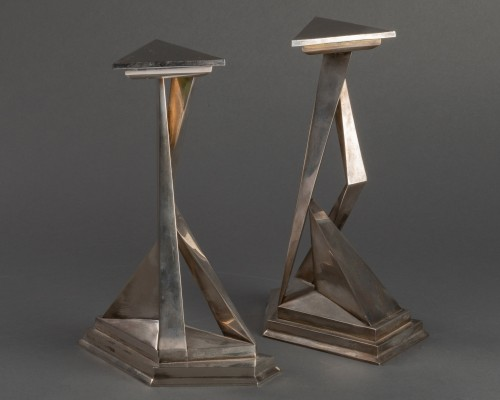 Pair of Castor and Polux candlesticks signed Dali -