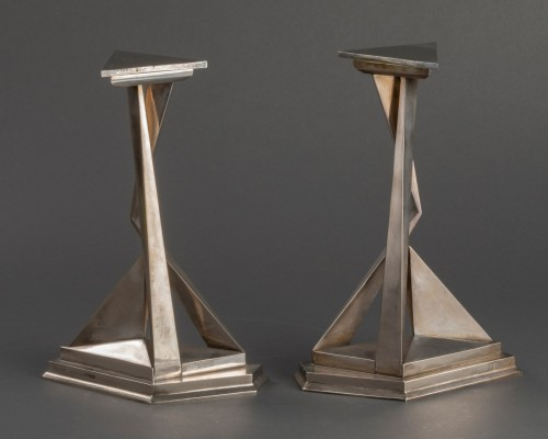Antiquités - Pair of Castor and Polux candlesticks signed Dali