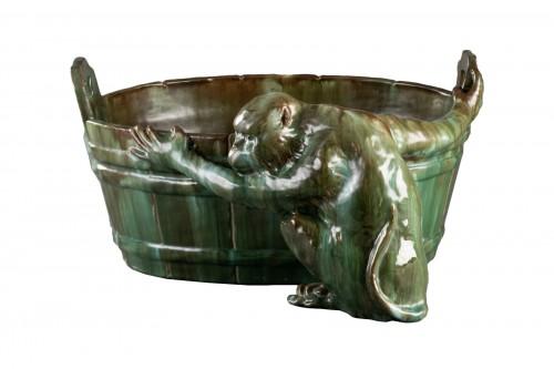 Ceramic flowerpot, Clément MASSIER Golf Juan.