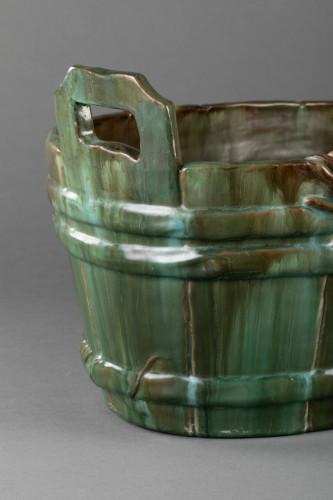 Porcelain & Faience  - Ceramic flowerpot, Clément MASSIER Golf Juan.