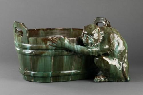 Ceramic flowerpot, Clément MASSIER Golf Juan. -