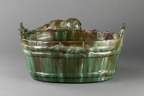 19th century - Ceramic flowerpot, Clément MASSIER Golf Juan.