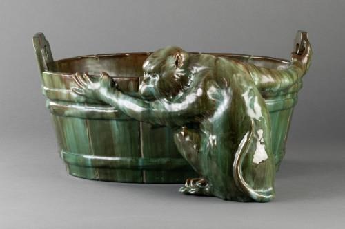 Ceramic flowerpot, Clément MASSIER Golf Juan. - Napoléon III