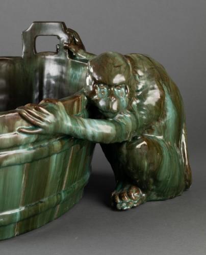Napoléon III - Ceramic flowerpot, Clément MASSIER Golf Juan.