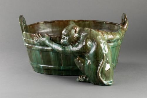Antiquités - Ceramic flowerpot, Clément MASSIER Golf Juan.