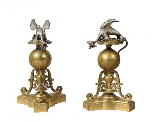 Paire of bronze andirons - Victor Paillard (1805 - 1886)