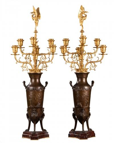 Pair of candelabras - Ferdinand LEVILLAIN et Ferdinand BARBEDIENNE