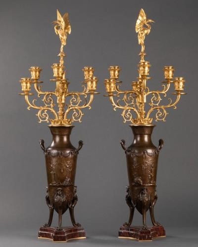 Pair of candelabras - Ferdinand LEVILLAIN et Ferdinand BARBEDIENNE  - Lighting Style Napoléon III