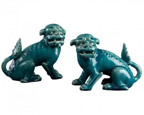 Paire of porcelain chiens de Fô - Clément Massier
