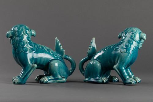 Paire of porcelain chiens de Fô - Clément Massier - Porcelain & Faience Style Art nouveau