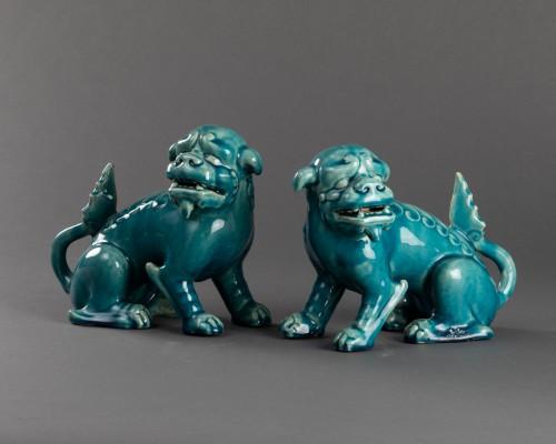 Porcelain & Faience  - Paire of porcelain chiens de Fô - Clément Massier