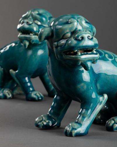 Paire of porcelain chiens de Fô - Clément Massier -