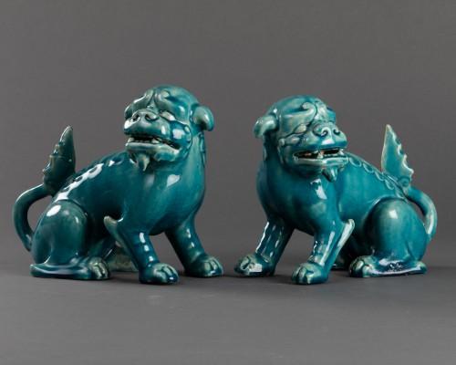 Paire of porcelain chiens de Fô - Clément Massier - Art nouveau