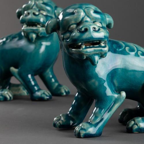 Art nouveau - Paire of porcelain chiens de Fô - Clément Massier