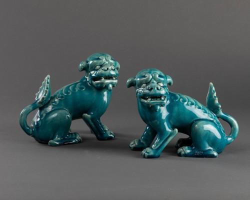 Antiquités - Paire of porcelain chiens de Fô - Clément Massier