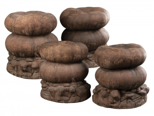 Set of four terracotta garden stools
