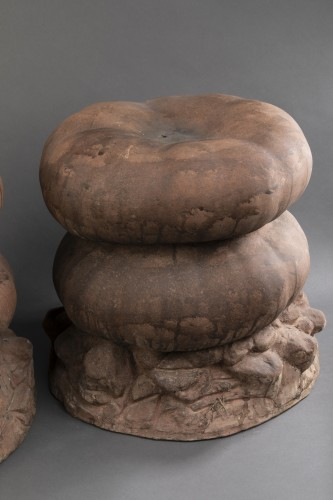 Set of four terracotta garden stools  - Seating Style 50