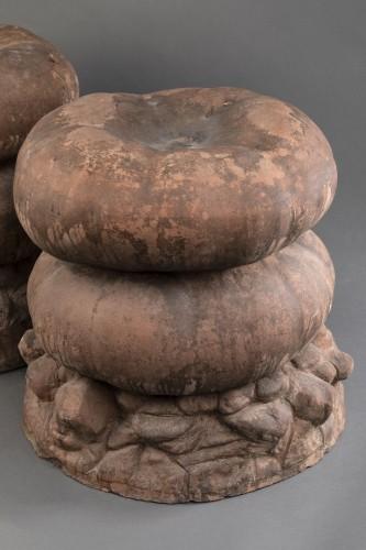 20th century - Set of four terracotta garden stools