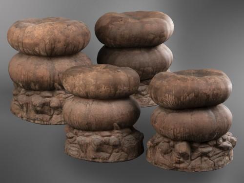 Set of four terracotta garden stools  - 50