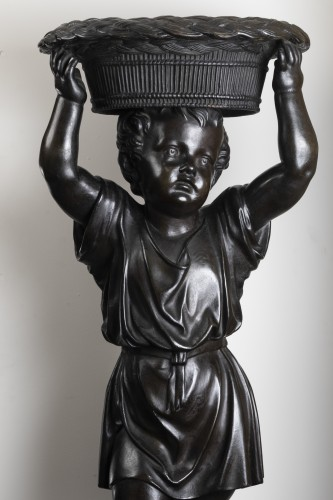 Pair of bronze cherubs forming a flowerpot - Sculpture Style Napoléon III
