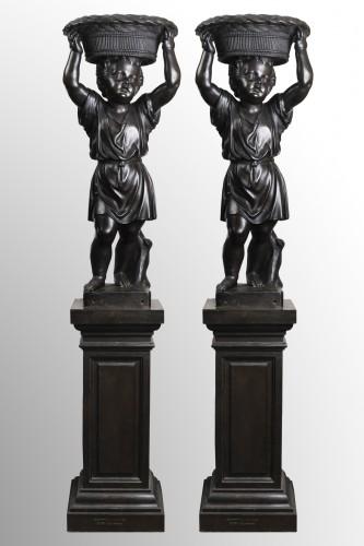 19th century - Pair of bronze cherubs forming a flowerpot