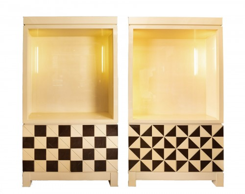 "Pair of showcase furniture, ""Vasarely"" Emiel VERANNEMAN"