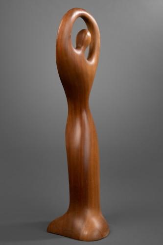"""Gitane""  Sculpture in wood from Africa - Ricardo Scarpa (1905 - 1999) - Sculpture Style 50"