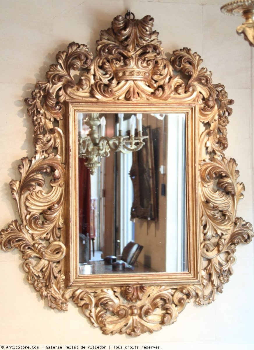 Grand miroir sculpt en bois dor xviiie si cle for Miroir xviii