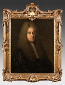 French Regency period magistrate portrait in a N. Pineau carved giltwood frame