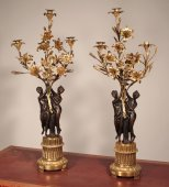 Pair of candelabra with Nymphs By Falconet