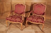 Pair of Louis XV armchairs stamped Mathon