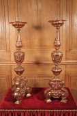 Pair of 18th century brass and copper Pricket Sticks