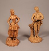 Pair of terracotta figures by  C. L. Auboin