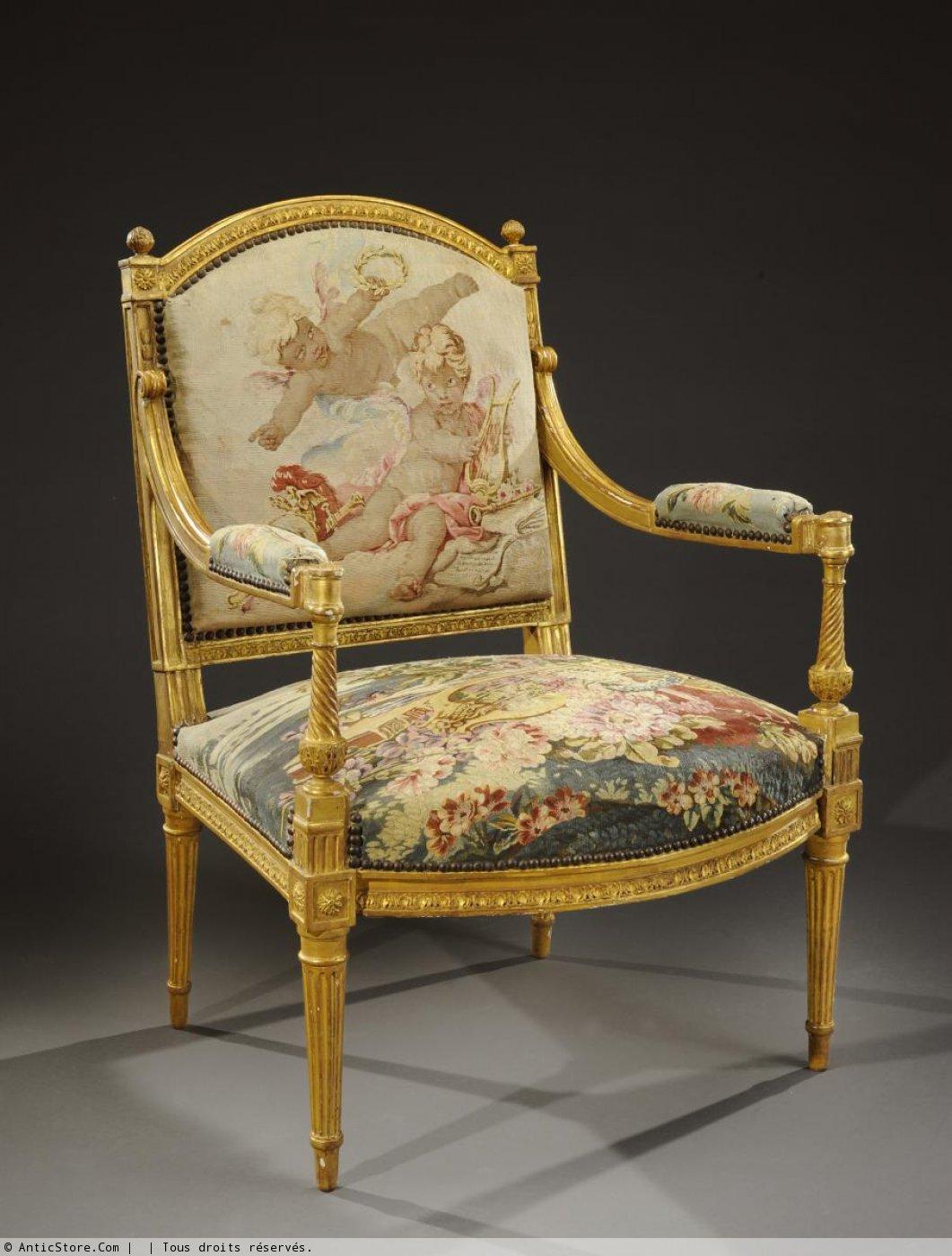 Salon d 39 poque louis xvi en bois sculpt et dor couvert en tapisserie des gobelins xviiie - Salon louis xvi ...