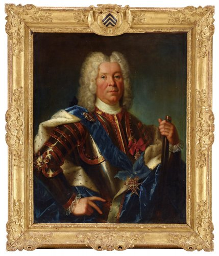 Portrait of Marshal Lévis by Nicolas de Largillière in its original armorial frame