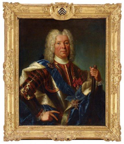 Portrait of Marshal Lévis by Nicolas de Largillière in its original armorial frame