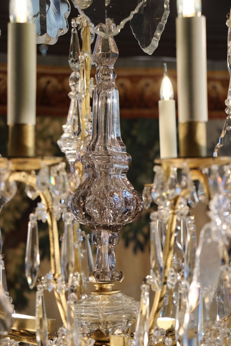 lustre cage en bronze dor et cristal vers 1750 xviiie si cle. Black Bedroom Furniture Sets. Home Design Ideas