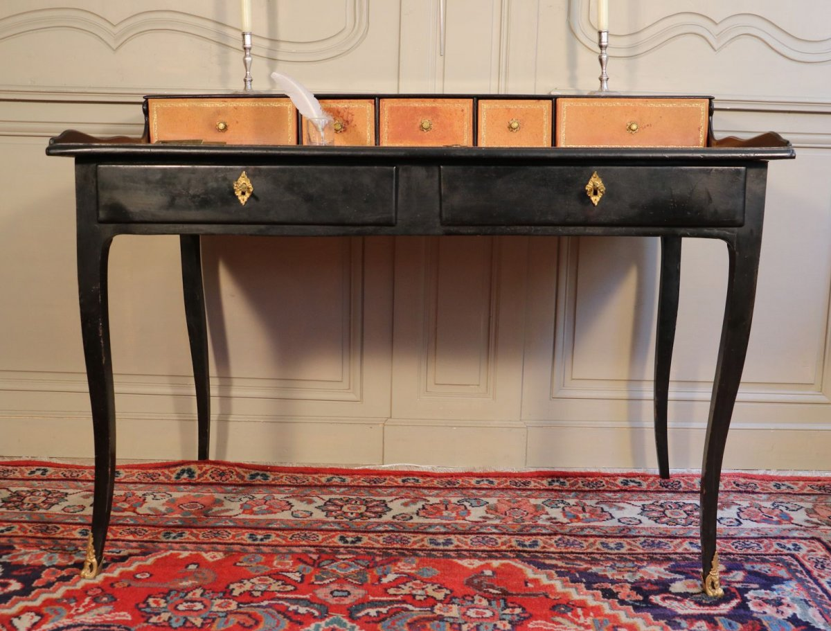 bureau gradin bois noirci et bronze fin r gence. Black Bedroom Furniture Sets. Home Design Ideas
