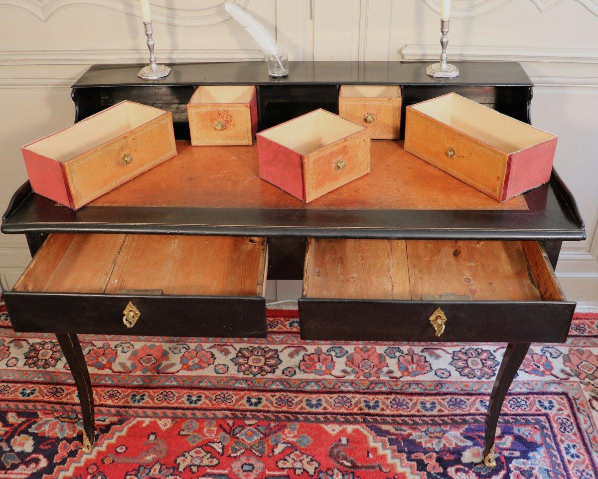 Bureau à gradin bois noirci et bronze fin régence xviiie