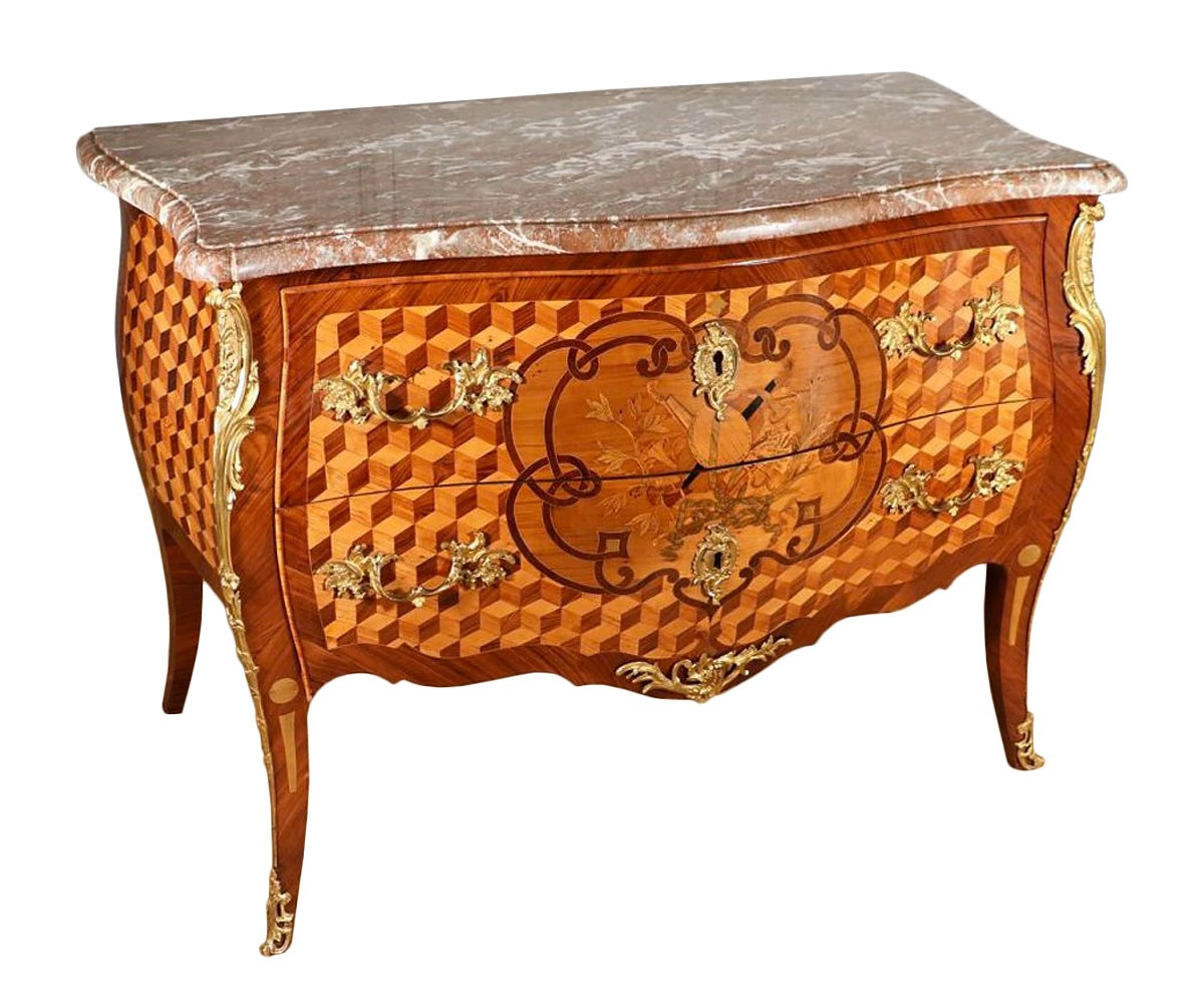 commode galb e poque louis xv est de la france xviiie si cle. Black Bedroom Furniture Sets. Home Design Ideas