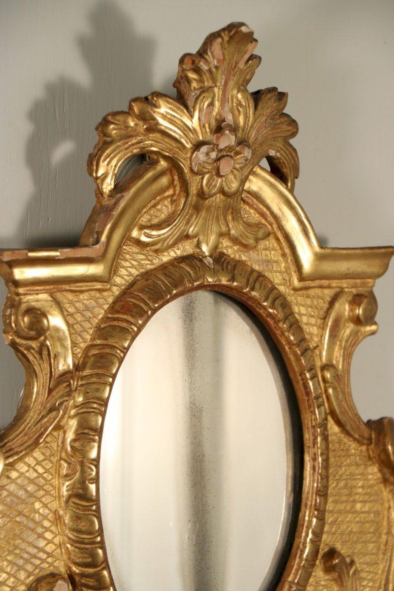 Paire de miroirs avec bras de lumi re poque r gence for Miroir avec lumiere